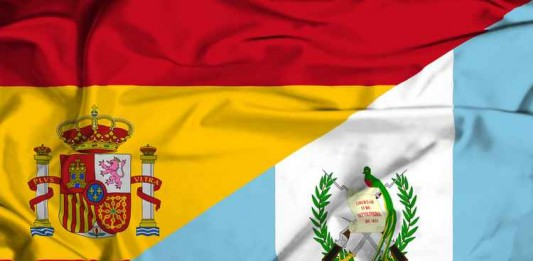Waving flag of Guatemala and Spain