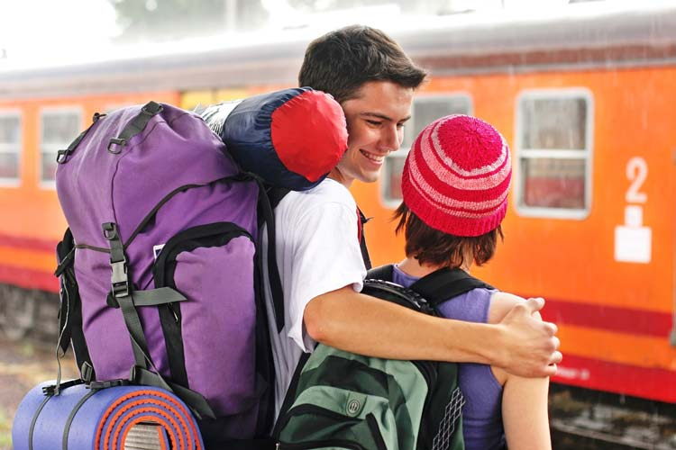 Backpackers at Train Station