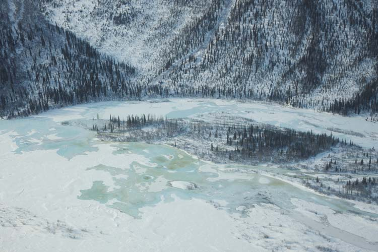 Aerial View of a Frozen Lake in Gates of the Arctic National Park and Preserve, Alaska
