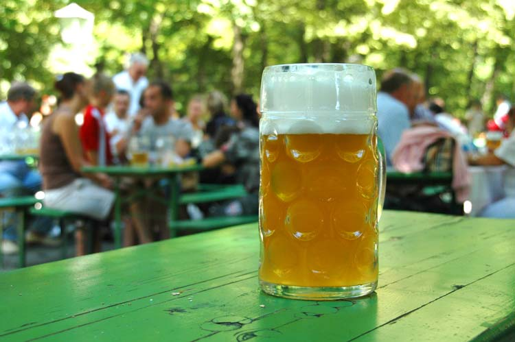 Large Glass of Pils in a German Beer Garden