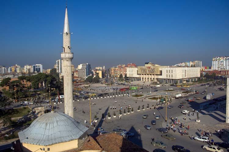 Main Square and Mosque in Tirana, Albania