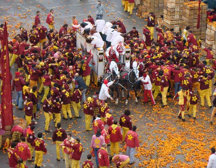 Mercenari's Battle of Oranges Taken From Santo Stefano Tower in Ivrea, Italy