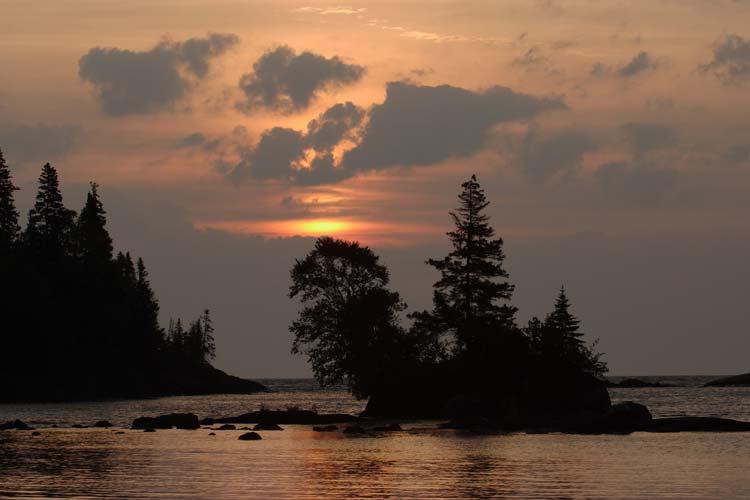 Sunrise on Chippewa Harbor in Isle Royale National Park, Michigan