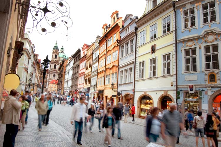 Street in the Center of Prague, Czech Republic