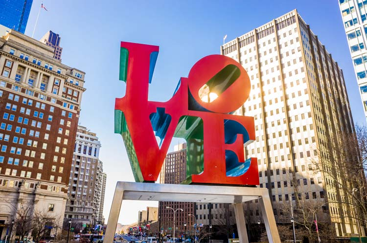 The Love statue in the Love Park, Philadelphia, Pennsylvania, U.S.A.