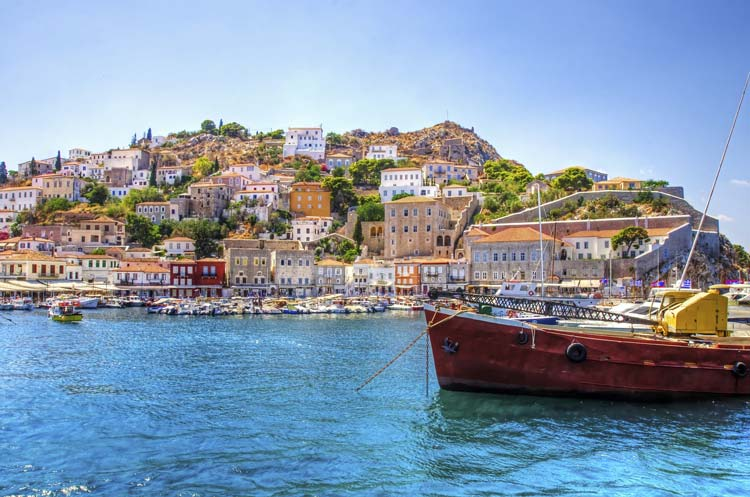 View of the Beautiful Greek Island, Hydra