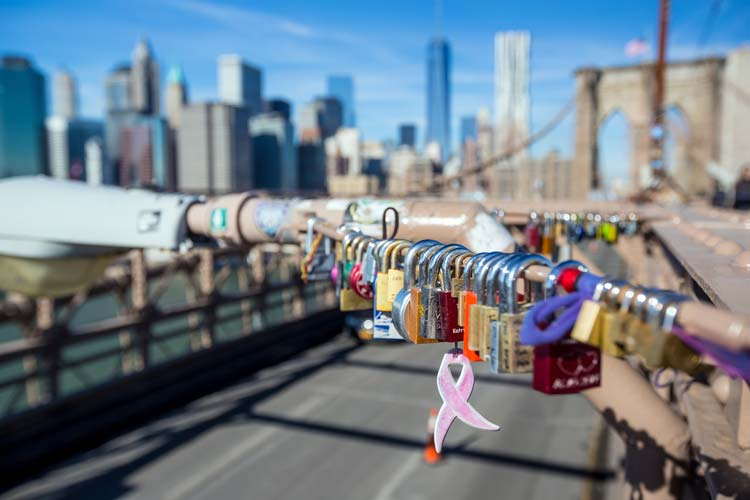 Love locks at Brooklyn Bridge