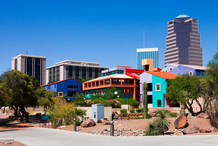 The pretty and colorful downtown of Tucson, Arizona