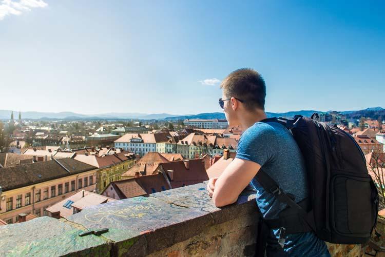 Tourist in Ljubljana, Slovenia