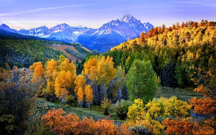 Autumn Scene near Sunset at Sneffels Range, Colorado