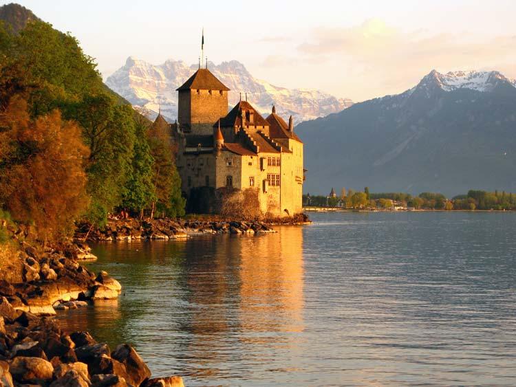 Chillon Castle On the water-edge of Lake Geneva, Switzerland