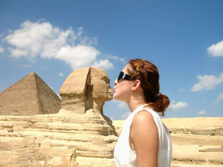 Kissing the Great Sphinx of Giza