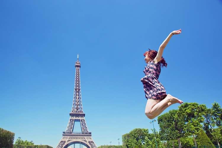 Pinching the Eiffel Tower in Paris