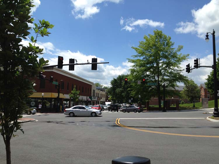 The Main Street of Blacksburg, Virginia