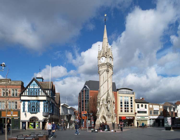 Haymarket Memorial Clock Tower in Leicester, England