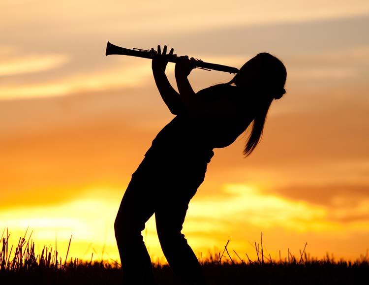 Clarinet at sunset
