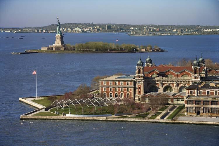 Ellis Island with Liberty Island in the back
