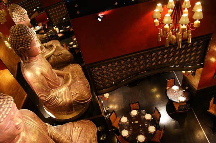Interior of The Buddha Restaurant in Budapest