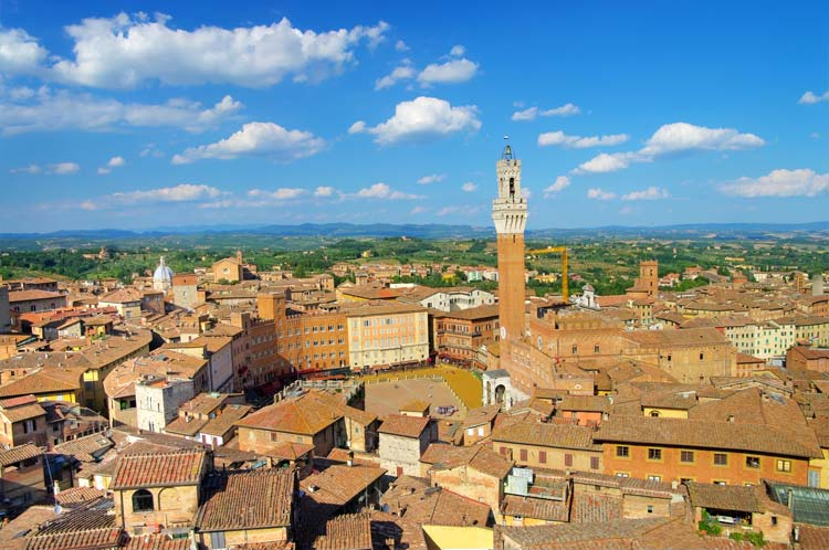 Old town of Siena in Tuscany, Italy