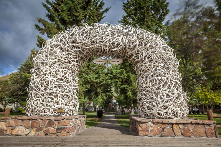 Antler arch on Town Square Jackson Hole WY