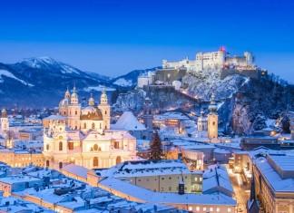 Salzburg skyline in Winter