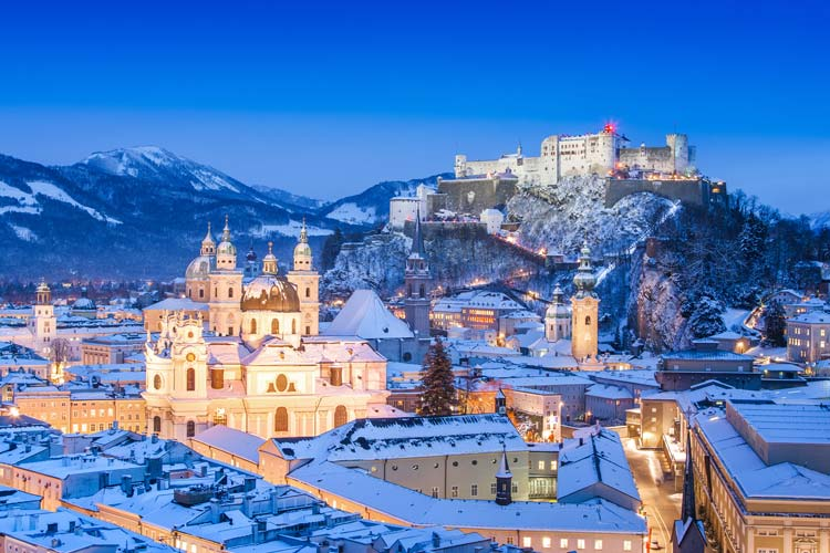 Salzburg skyline in Winter