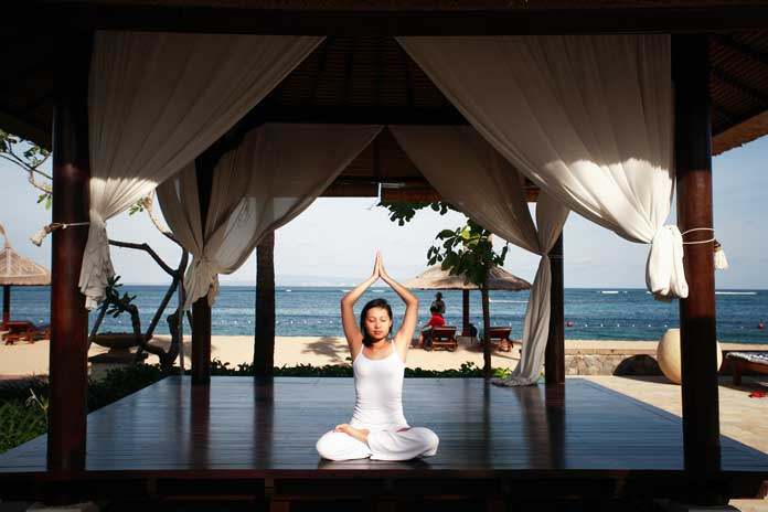 Meditating at detox retreat