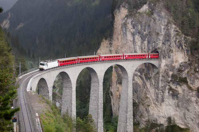 Trains through the beauty of Switzerland