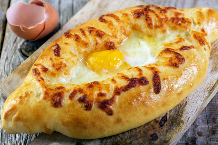 Georgian Khachapuri with Cheese and Egg