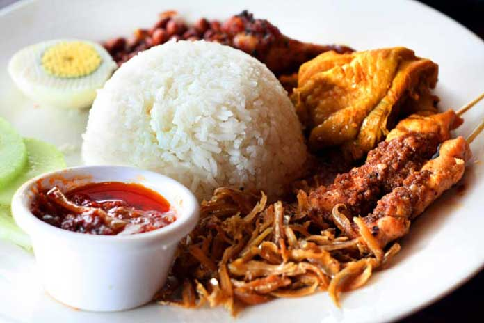 Malaysian Nasi Lemak with Curry Chicken and Sambal