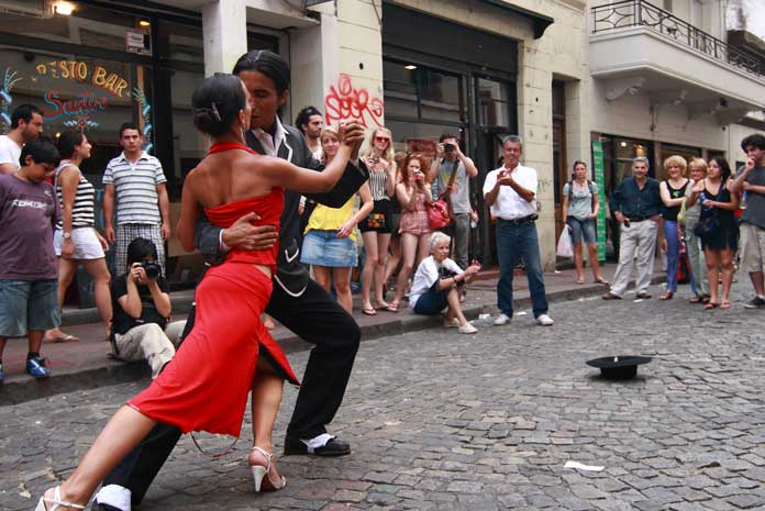Tango Dancers Performing on the street
