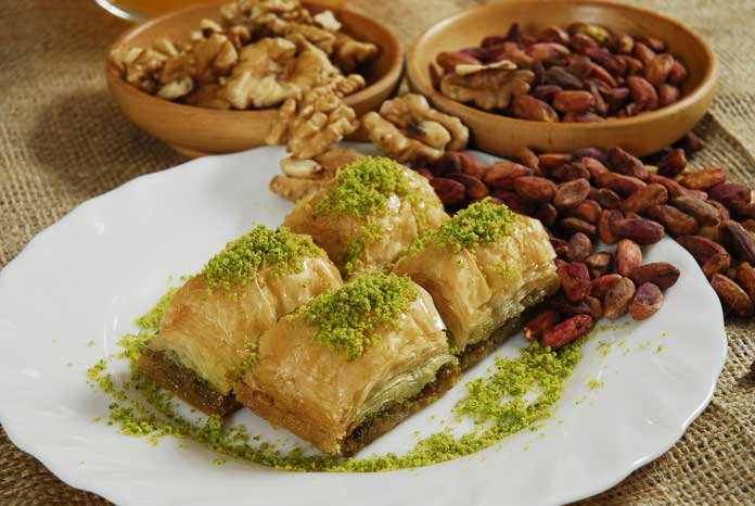 Turkish Baklava with Walnuts and Pistachios